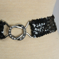 Vintage 1980's Black Sequin Stretch Belt Elastic Cinch Belt