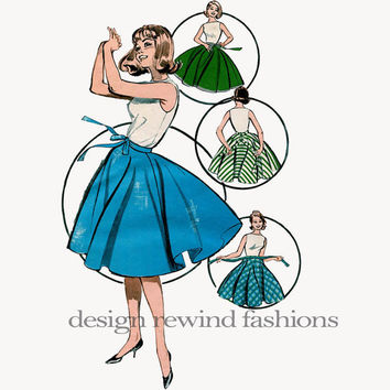 1950s Misses' CIRCLE SKIRT with Matching Tie Belt Waist 24 / Hip 33 36 Butterick 9671 Vintage Sewing Pattern - Easy to Sew