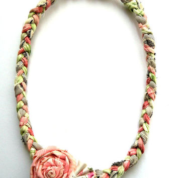 Braided flowers fabric necklace, girls necklace, , flowers necklace, toy necklace,children's accessories, photoshoot prop