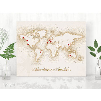 World Map Print - Vintage Brown Dots Stickers Included!