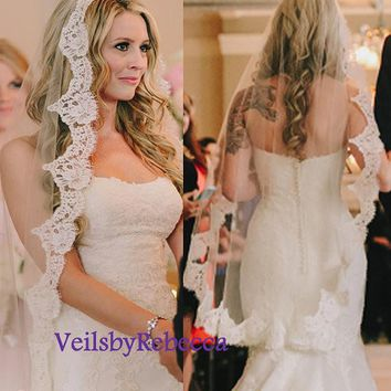 Fingertip mantilla veil,fingertip lace veil,French Chantilly lace veil,ivory lace veil fingertip,1 tier Mantilla Fingertip Wedding Veil V621
