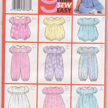 Babies short sleeve dress with bloomers, romper, jumpsuit with neckline, trim variations pattern size L XL 22-29 lbs Butterick 6361 UNCUT