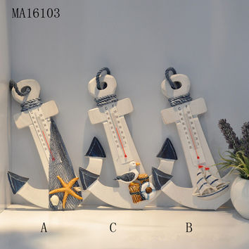 Wood Handicrafts Anchor Thermometer Mediterranean Style Home Decor