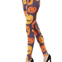 High Waist Pumpkin Fit Halloween Leggings - ONE SIZE