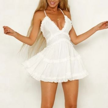 New women's  sling ruffled V-neck leak-back stitching sexy mini dress