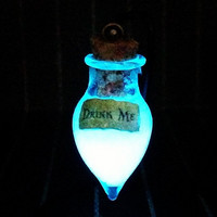 "Alice in Wonderland Teardrop ""Drink Me"" Glow In The Dark Potion Necklace in Blue or Aqua, Potion Vial, Kawaii, Pastel Goth, Cosplay Charm"