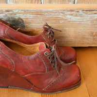 Oxblood Oxford wedges by flocole on Etsy