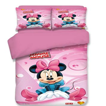 Pink Minnie Mouse Bedding Set Cartoon Bedspread Single Twin Full Queen King Size Bedclothes Children's Girl's Bedroom Decor Sexy
