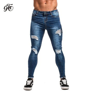 Gingtto Ripped Jeans For Men Black Streetwear Stretch Denim Jeans Distressed Slim Fit Pants Male Hip Hop Skinny Jeans Men Sale