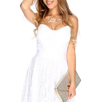 White Floral Crochet Overlay Sexy Strapless Dress