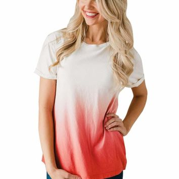 Dipped Ombre Pink Tie Dye Shift Tee