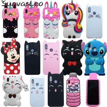 For Huawei P20 Lite Case 3D Cartoon Cute Unicorn Stitch Cat Soft Silicone Back Cover For Huawei P20 Pro P20 Phone Cases Fundas