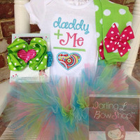 Baby Girl Tutu Outfit - Daddy's Girl - lime green, aqua and hot pink applique bodysuit, leg warmers, bow and tutu -- Father's Day