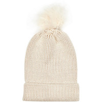 River Island Womens Cream marabou feather beanie hat