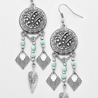 Antique Silver Tribal Aztec Turquoise Disc Chandelier Earrings