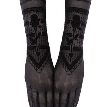 Gothic Beauty Black Rose Victorian Lace Gloves - Gothic / Evening Wear