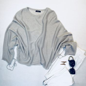Women's Dolman Mesh Sweater Gray