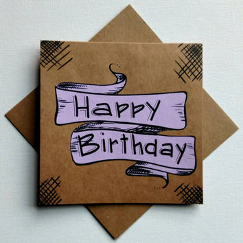 Hand lettered square 'Happy Birthday' greeting card, tan and lavender birthday banner card, blank kraft square greeting card.