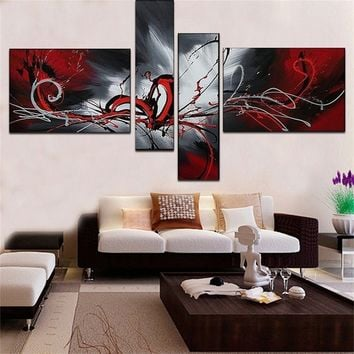 100%Handpainted Modern Phoenix Totem Oil Painting 4 pcs / set Art Wall Home Decoration Abstract Landscape