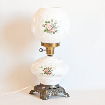 Vintage Puffy Rose Electric Hurricane Lamp, Milk Glass Flower Shade, Fenton (?) Victorian Style Light, Gone with the Wind, Cottage Chic