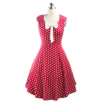 Hepburn Style 50s Vintage Polka Dot Dress   wine red   S