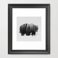 Watched by Grizzly Bear (black & white version) Framed Art Print by Andreas Lie