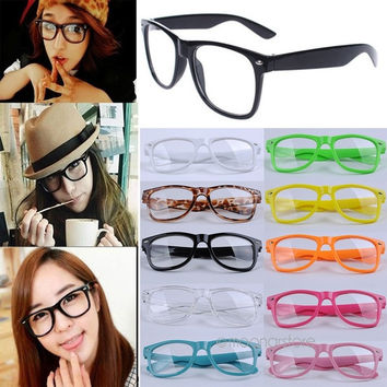 Fashion Designer Vintage Girl glasses Cute Clear Lens Nerd Geek Wayfarer Eyewear = 1945957380