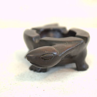 Carved Wood Turtle Ashtray Bowl,Small Vintage Wooden Turtle