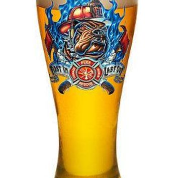 "RESCUE FIREDOG ""FIRST IN, LAST OUT""-   PILSNER BEER GLASS"