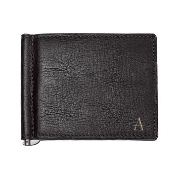 Personalized Black Leather Wallet with Money Clip & Multi-function Tool