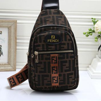 """FENDI"" All-match Fashion Letter Large Capacity Shoulder Pack Quilted Chain Women Flip Small Square Bag"