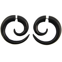 Spiral - Steel Pin Cheaters - Areng Wood Earrings