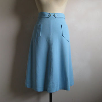 Vintage 1960s Wrap Skirt 60s  Pertini Light Blue Wrap Around Skirt Large