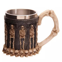 New Resin 3D Skull Crypt Tankard Stainless Steel Liner Drinking Mug Horror Decor Cup for Halloween Bar Party