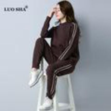 Women Costume Female Pullover Sweat Suit  Cashmere