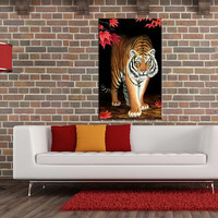 Modern Digital printed canvas tiger on red leaves Home Decor 10x16 INCHES