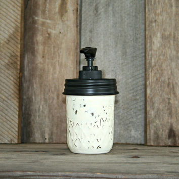 Mason Jar Soap Dispenser - Old White - Rustic, Country, Shabby Chic, Farmhouse, Vintage Style