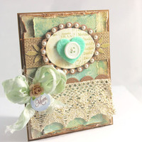 Mother's Day Card, Shabby Chic Card, Love you Mom, Teal Card, Vintage Lace Card, Heart Lace Card, Mother's Day Card, Mom Card, Mother Card