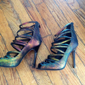 Rebecca Minkoff Iridescent Python Heels Found on Bib + Tuck