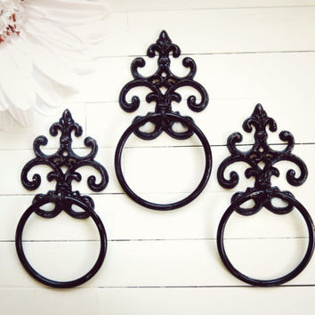 Black Towel Holder / Towel Ring / Towel Rack / Outdoor Kitchen / Towel Hanger / Bar Towel Holder / Hand Towel Holder / Black Home Decor