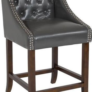 "Carmel Series 24"" High Transitional Tufted Walnut Counter Height Stool with Accent Nail Trim in Dark Gray Leather"