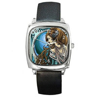 Art Nouveau Lady w/ Blue Background on a Womens Silver Square Watch with Leat...