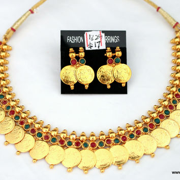 Traditional Lakshmi Coin Necklace with Stud Earring