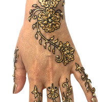 6-Piece Glitter and Beads Henna Temporary Tattoo Set in Gold