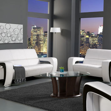 2 Pc. Enez Modern Style White And Black Two-Toned Leatherette Sofa and Love seat Set