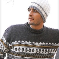 Handmade Knit Men's Beanie in Off White and Brown Color. Gift for Him. Unisex hat made of Wool. Skiing snowboarding beanie.