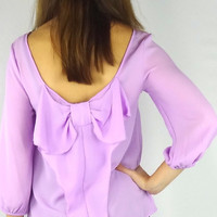 Bow Back Blouse - Lavender | .H.C.B.