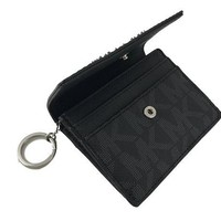 ONETOW Michael Kors Jet Travel PVC Signature Credit Card Case ID Key Holder Wallet in Black