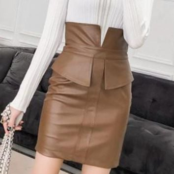 Colorfaith Women PU Leather Hip Slit Mini Skirt