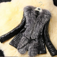 New Women Female Faux Fur Leather Coat Jacket Outwear Warm Outerwear Black Plus Size = 1931584324